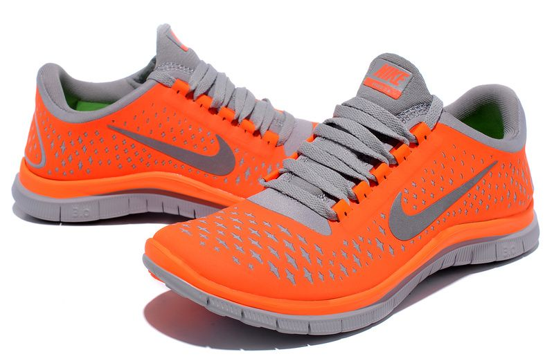 Men's Nike Free Run+ 2 Shield Collection Grey Silver Orange Sneakers : E55x4064