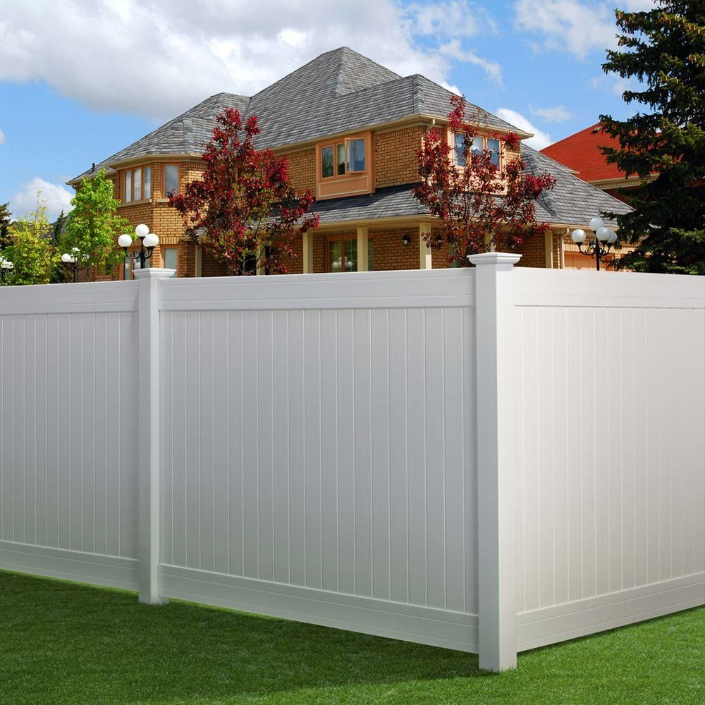 Veranda Dover 6 Ft H X 8 Ft W Vinyl Privacy Fence Panel Kit 141569 The Home Depot Vinyl Fence Panels Vinyl Privacy Fence Privacy Fence Panels