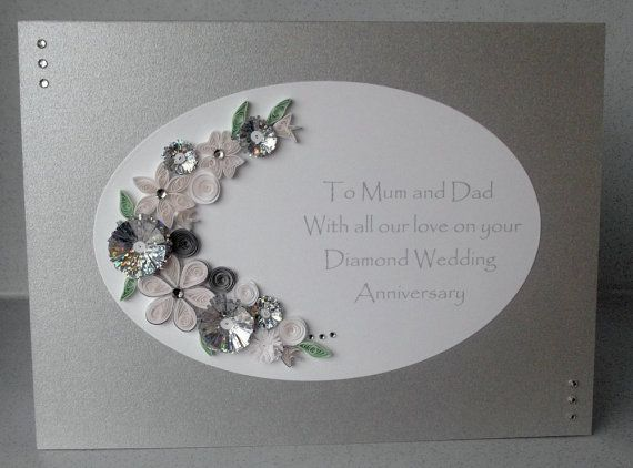 Paper quilling th diamond wedding anniversary card paper
