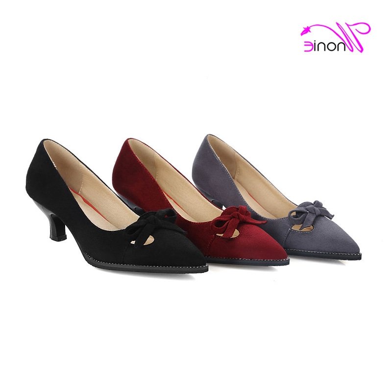 43.70$  Buy here - http://ali78j.worldwells.pw/go.php?t=32778943075 - 2017 Fashion Women Basic Pumps High Spike Heel Pointed Toe Flock Bowtie Butterfly Knot Autumn Summer Dress Party Ladies Shoes 43.70$