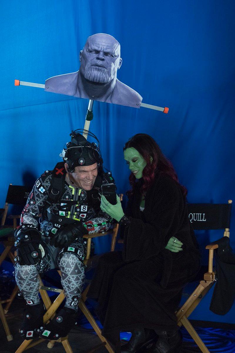Avengers Endgame Behind The Scenes Thanos Gamora Marvel Superheroes Marvel Actors Marvel