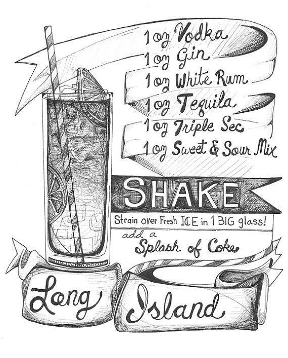 Long Island... Strong Island - klassische Cocktail Bowle - Bar Art für Ihre Bar…