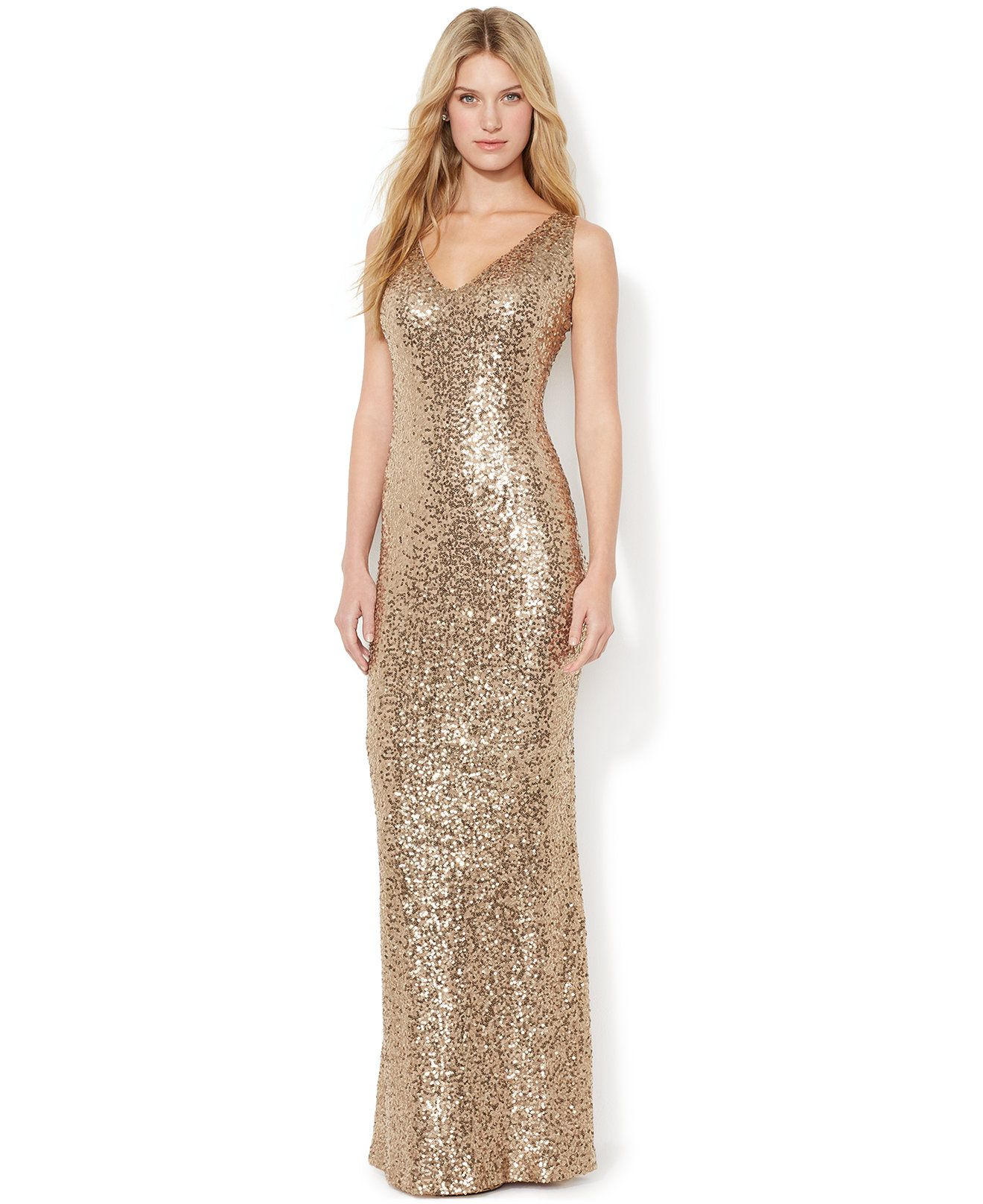 Sequined V-Neck Gown | clothing | Pinterest | Gowns, Woman and Jewel
