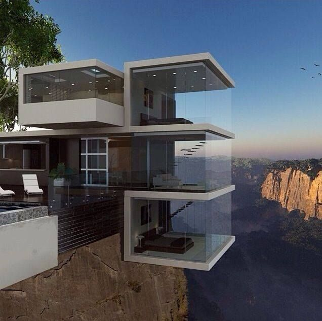 Home On A Rock Cliff. Beautiful But Wouldn't Want To Live