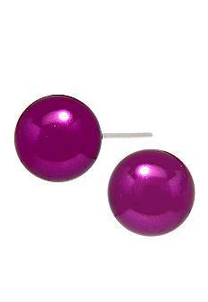 Kim Rogers® Magenta Pearl Stud Earrings - Belk.com