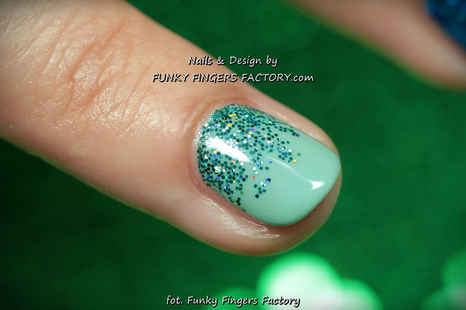 Gelish Blue and Mint Glitter Ombre nails by www.funkyfingersfactory ...