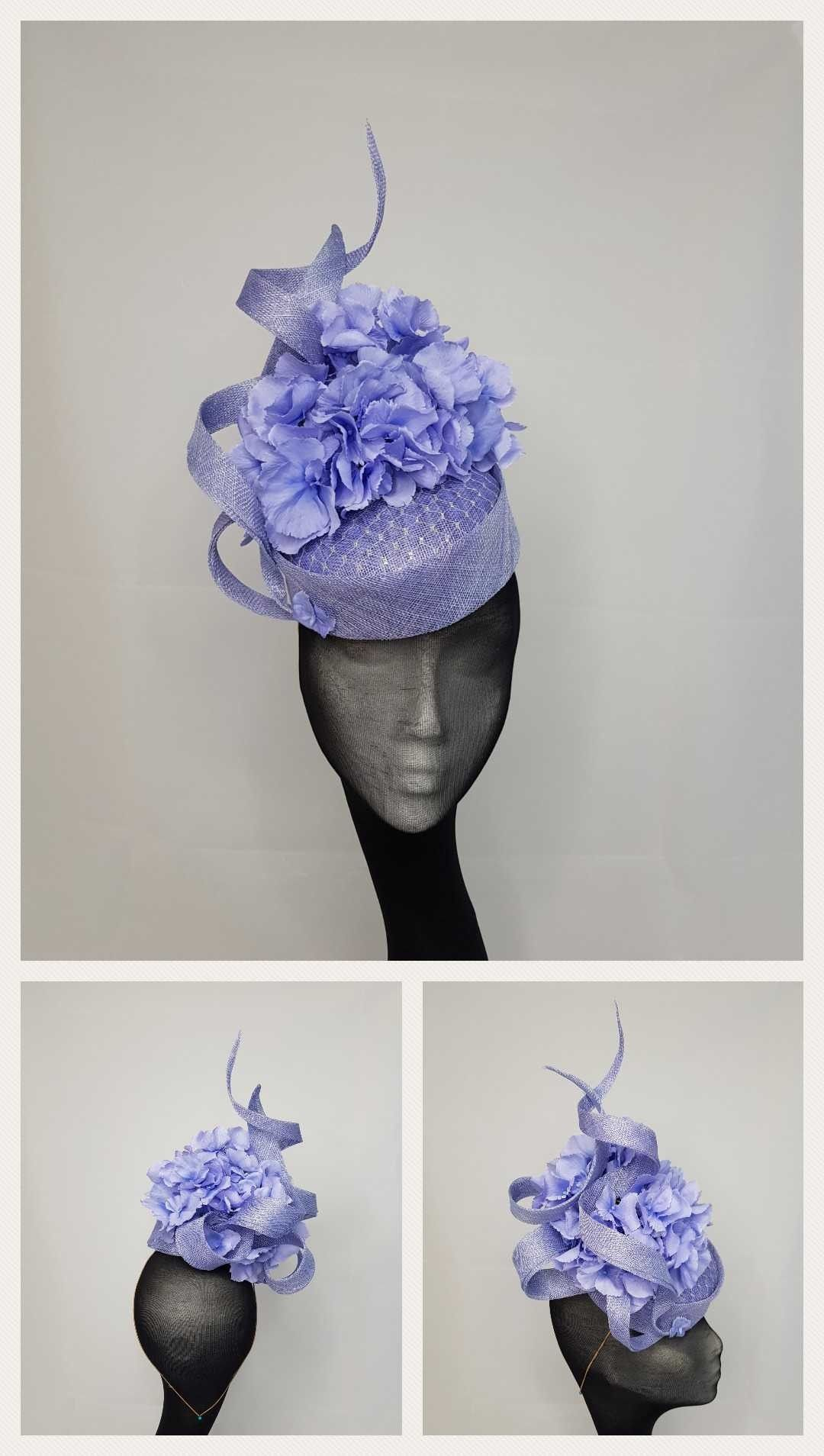 941c6ae1b2f Carla - blue delicate silk hydrangeas surrounded by sinamay twists set on a  base with metallic silver veil overlay.  SS18  newcollection  kjmillinery    ...