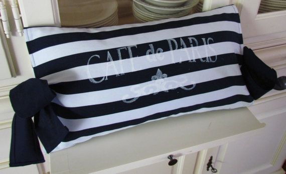 Cushion nautical navy white stripe beach by Lizzieslovelysewing, $35.00