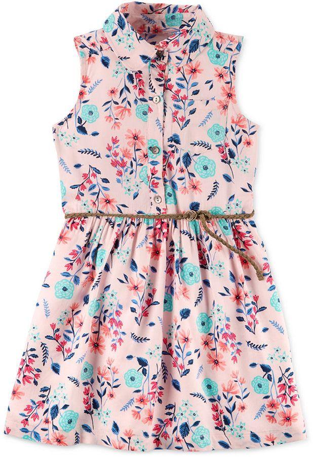 cb5152163763 Carter's Floral-Print Belted Shirt Dress, Toddler Girls (2T-5T ...