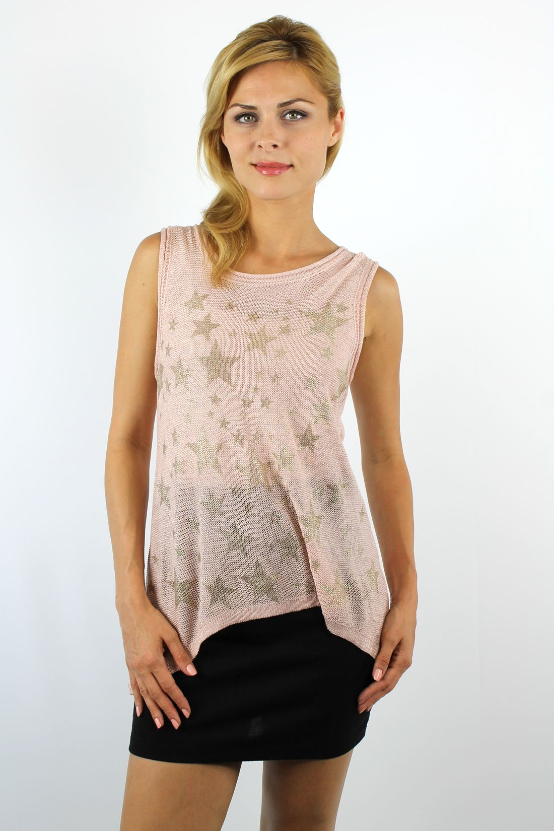Buy rose multiple metallic gold stars knitted tank with discount ...