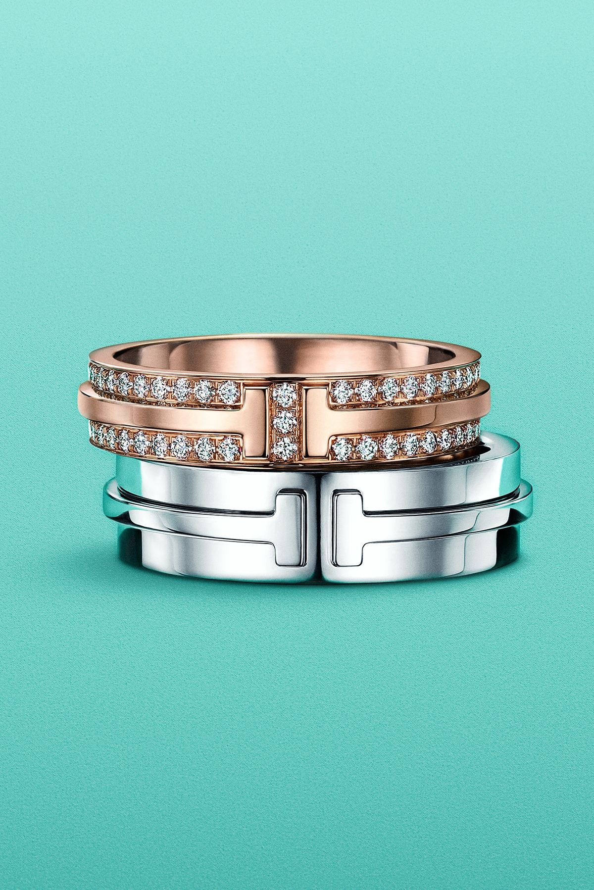 Tiffany T Two Band Rings In 18k Rose And White Gold Sterling Silver Jewelry Rings Diamond Solitaire Rings Wedding Rings Solitaire