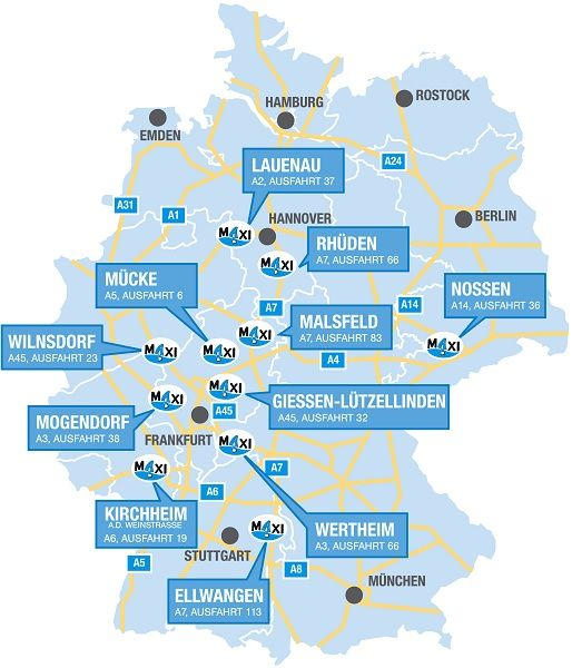 An 11 Standorten deutschlandweit findet man MAXIAutohöfe
