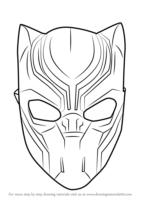 How To Draw Black Panther Mask Drawingtutorials101 Com Black Panther Drawing Black Panther Face Avengers Coloring
