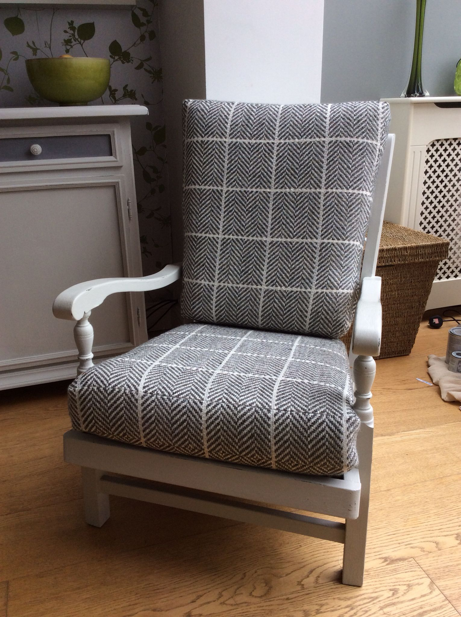 Finished Chair Painted In Rustoleum Winter Grey