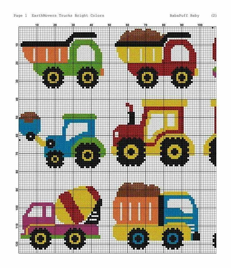 Construction trucks c2c Cross stitch designs, Cross