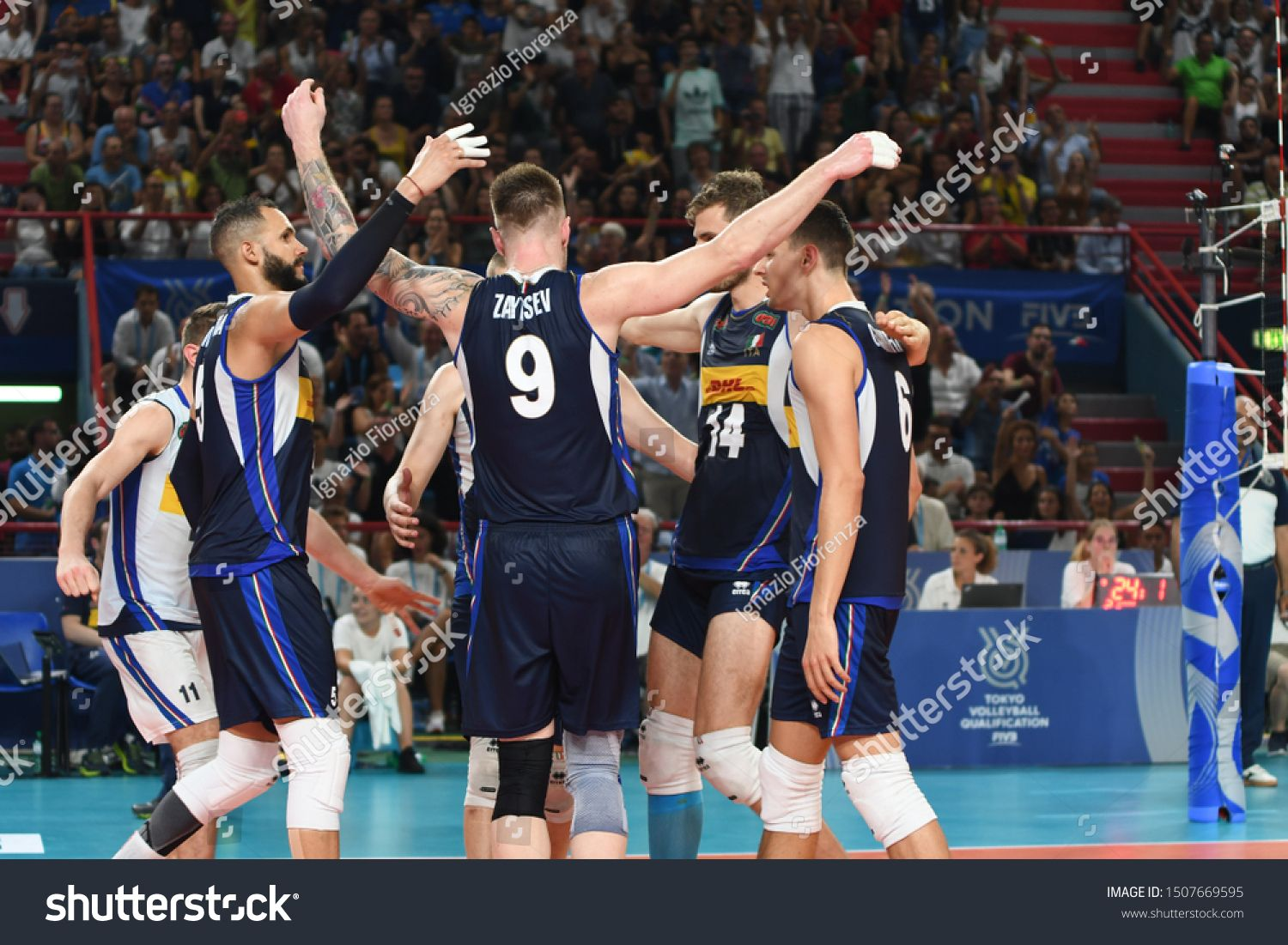 Bari Italy 11 August 2019 The Italian National Volleyball Team During The Men S Qualifying Tournament In Tokyo 2020 Volleyball Team Tokyo 2020 Volleyball