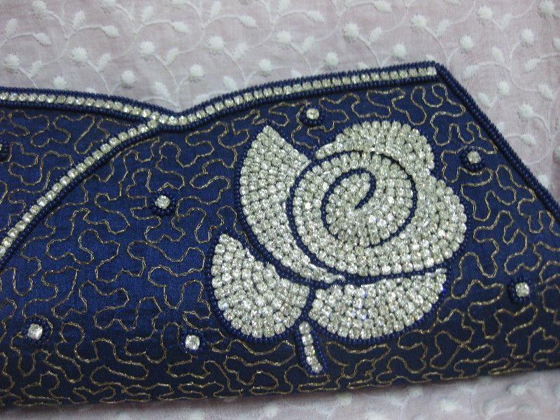 Navy Blue ~Unique Evening Handmade Rhinestone Crystal Purse Clutch Bag