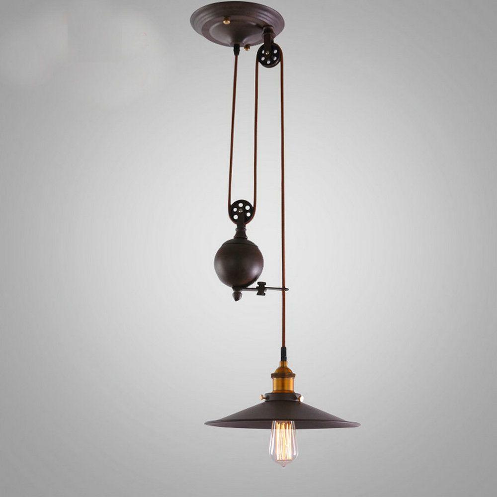 Reviews Kitchen Rise Fall Pulley Pendant Lights Edison Lamp Retro Wrought Iron Light Fixture