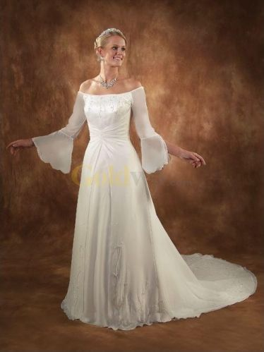 Us a line off the shoulder long bell sleeves for Bell sleeve wedding dress