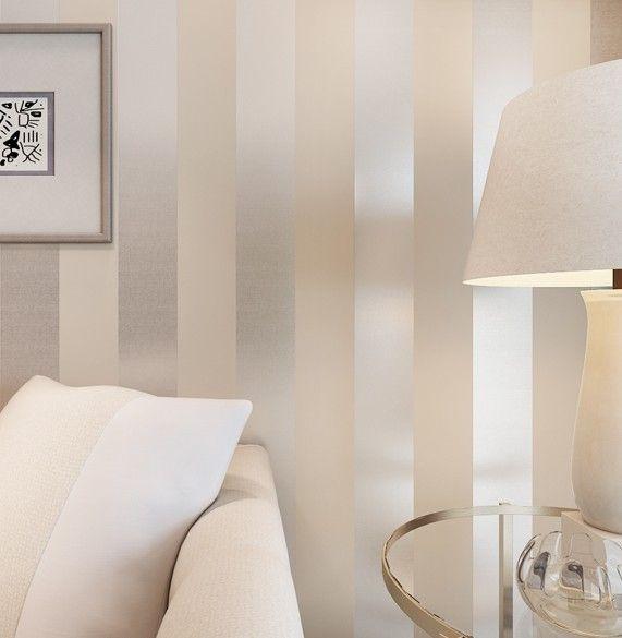 Non Woven Metallic Glitter Wallpaper Modern Background Wall Wallpaper White  And Silver Classic Stripe Wall