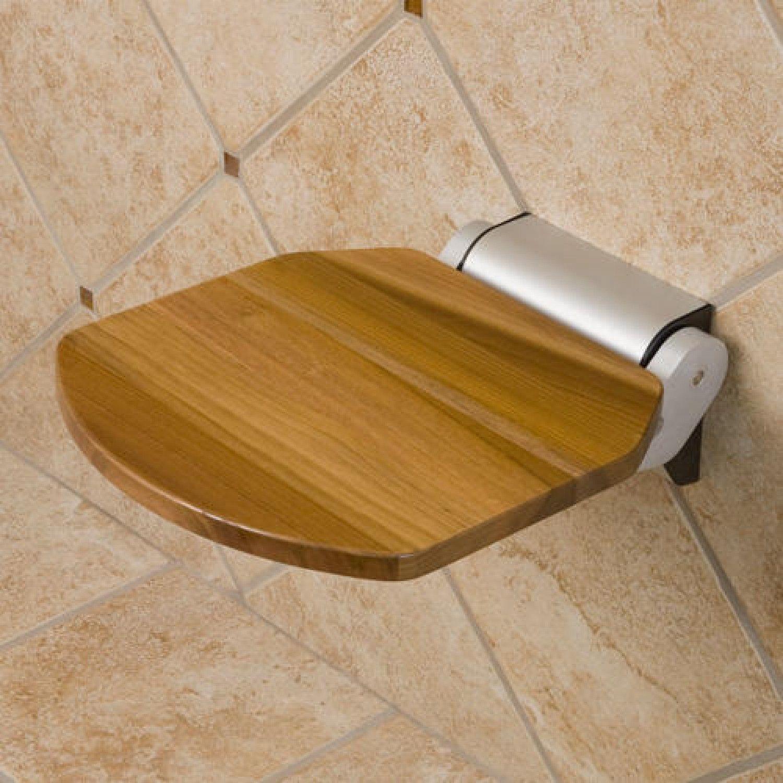 Solid Golden Teak Folding Shower Seat   Shower seat and Teak