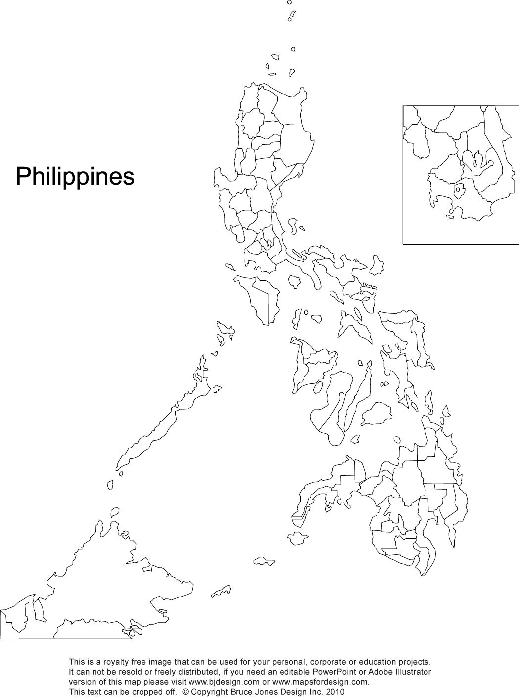 Philippines Blank Printable Royalty Free Manila Philippine Map