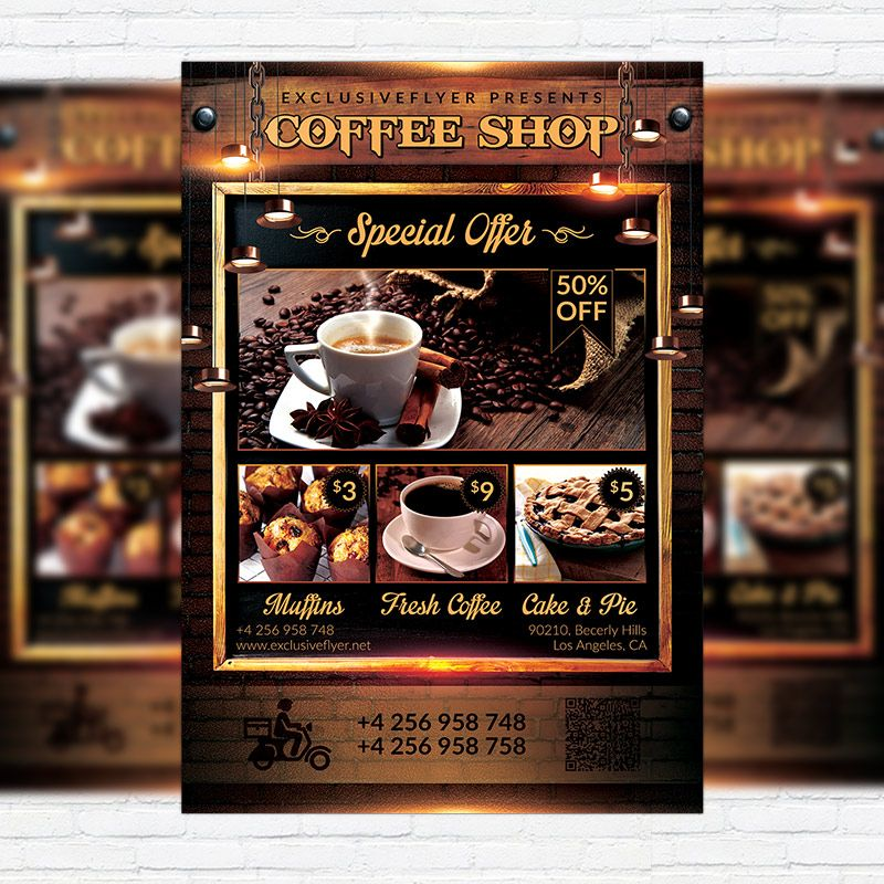 Coffee Shop - Premium Flyer Template + Facebook Cover http - coffee shop brochure template