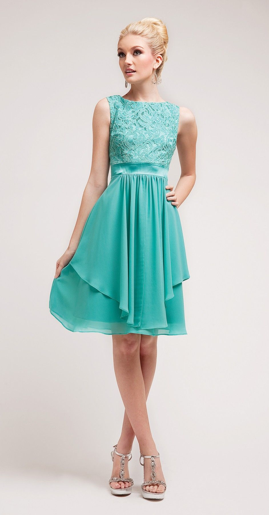 Knee Length Bridesmaid Dress Mint Green Lace Top Wide Straps Chiffon ...
