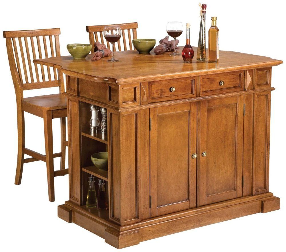 Amazon com home styles 5004 948 distressed oak kitchen island and stools bar serving carts
