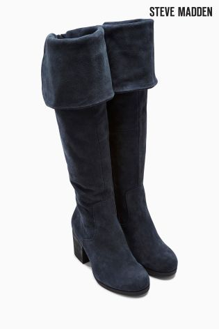 f6f65ea2c6b Buy Steve Madden Octagon Navy Suede Knee High Boot from the Next UK online  shop