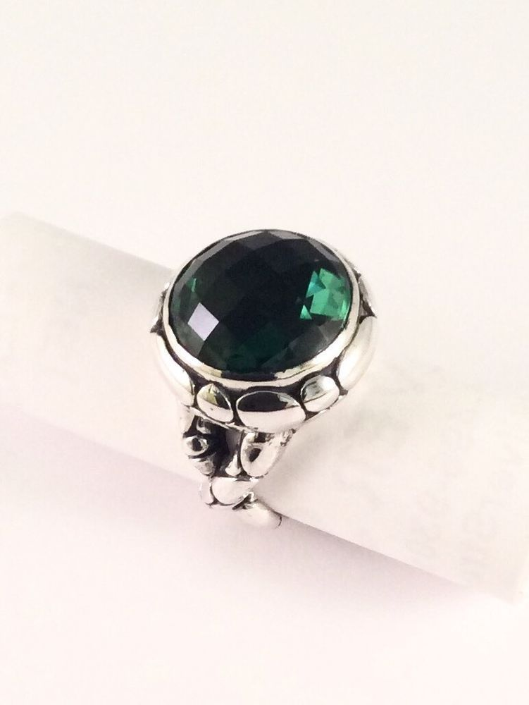 Sterling Silver Round Cushion Cut Green Quartz Filigree Size Just Over 8 Ring. #Unbranded