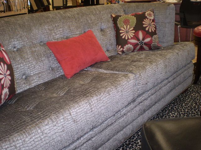 Reptile Print Sofa With Accent Pillows, Contemporary Furniture. Floor To  Ceiling, Grand Island