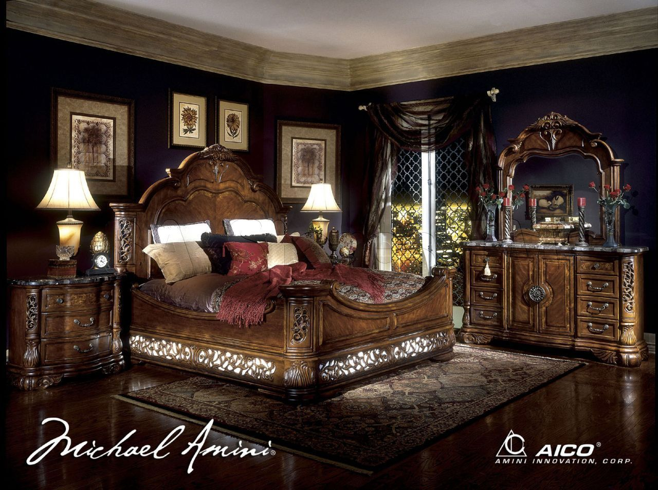 4 poster canopy bedroom sets | bedroom sets: excelsior 4 pc