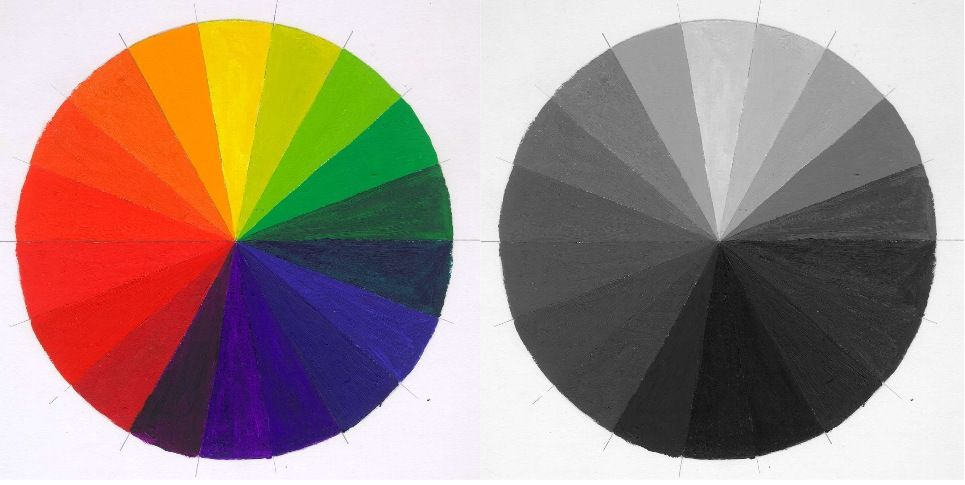 Grey Scale Color Wheel 18 Hue Color Wheel W Grayscale Oil Paint