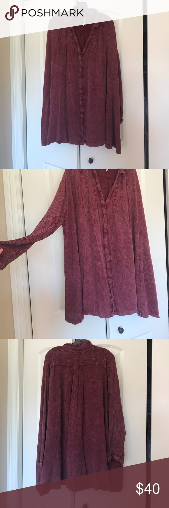 FREE PEOPLE FLOWY TOP Excellent Used Condition! So free & flowy! I bought this in two colors I loved it so much! 🙈 Oversized! Free People Tops Tunics