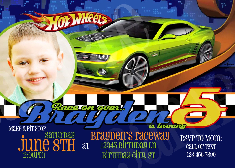 Hot Wheels Birthday Invitation Printable Photo Invitation by
