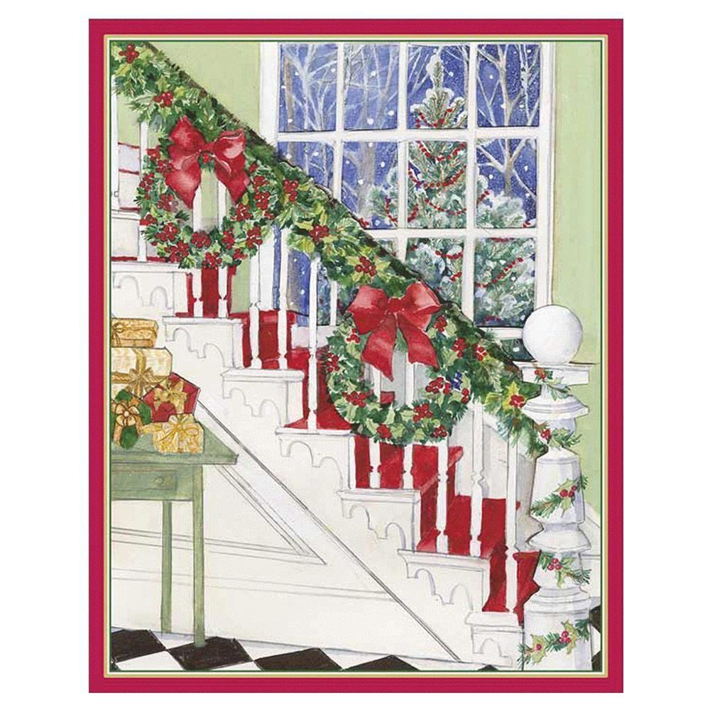 2020 Boxed Traditional Christmas Cards Christmas Staircase Mini Boxed Christmas Cards   16 Cards & 16