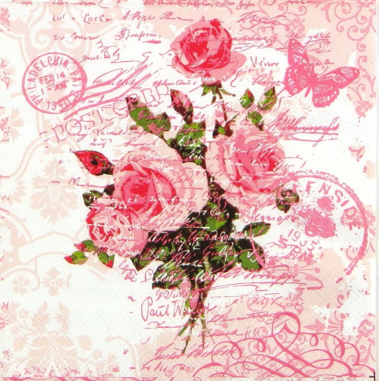 4x Vintage Red Rose Postcard Paper Napkins for Decoupage | Decoupage ...