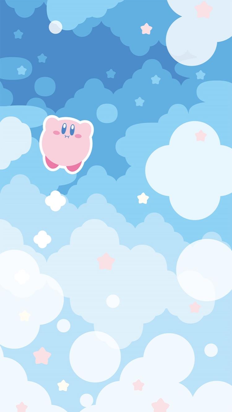 壁紙 任天堂公式lineアカウントでカービィのスマホ用壁紙を配信中 ホバリングで浮遊しているカービィをゲットしよう In Kirby Art Kawaii Wallpaper Iphone Background