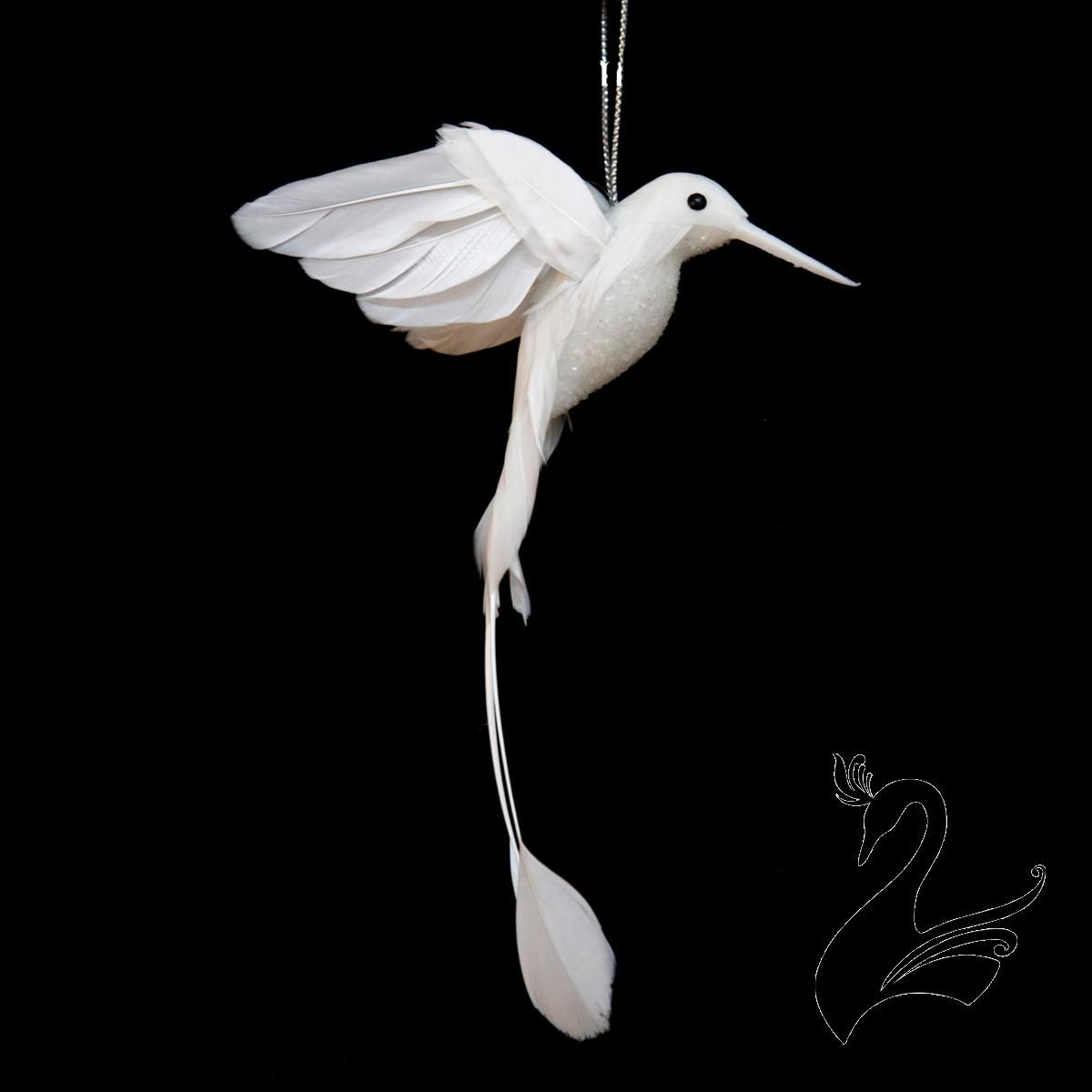 Bird Hummingbird with Feathered Wings Tail 11x20cm White Craft Millinery   eBay