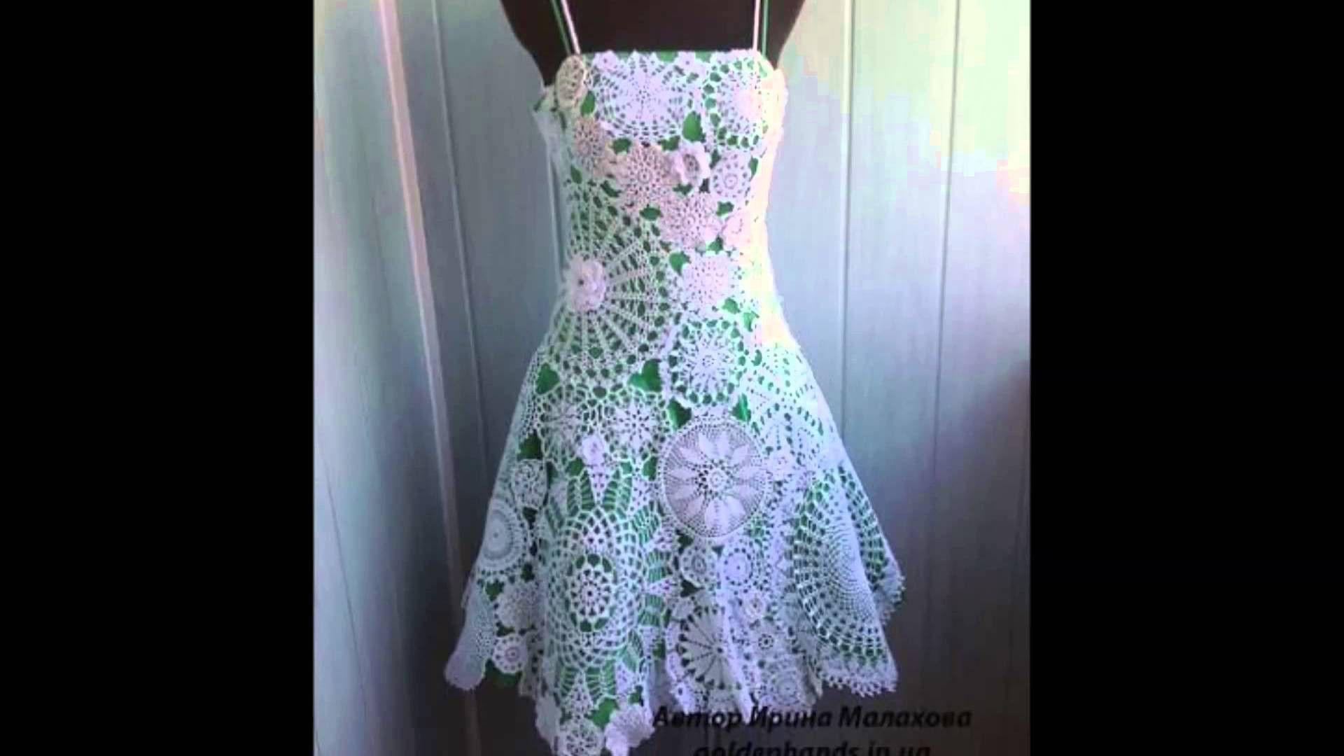Como hacer vestidos tejidos a crochet para dama