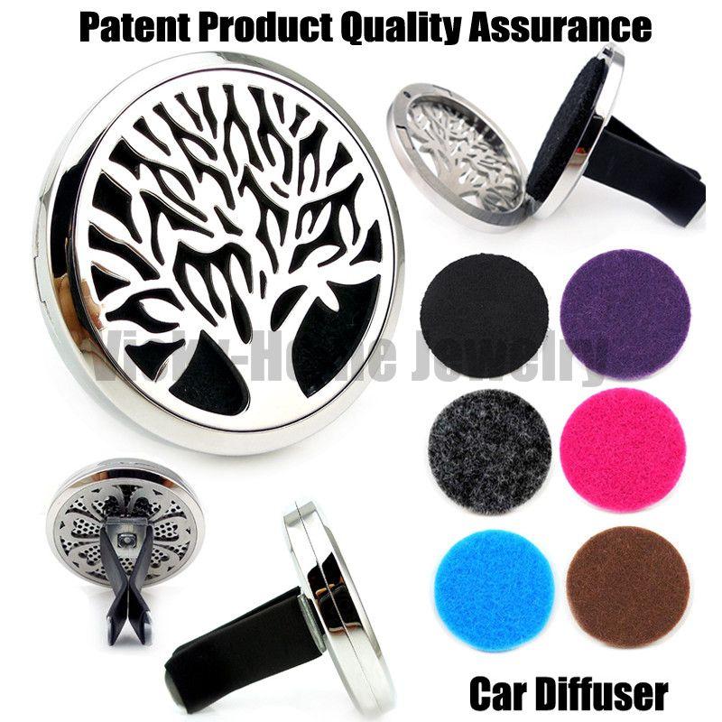 Silber Baum des Lebens (38mm) Magnet Diffusor 316 Edelstahl Auto Aroma Medaillon Freies Pads Ätherisches Öl Auto Diffusor Medaillons