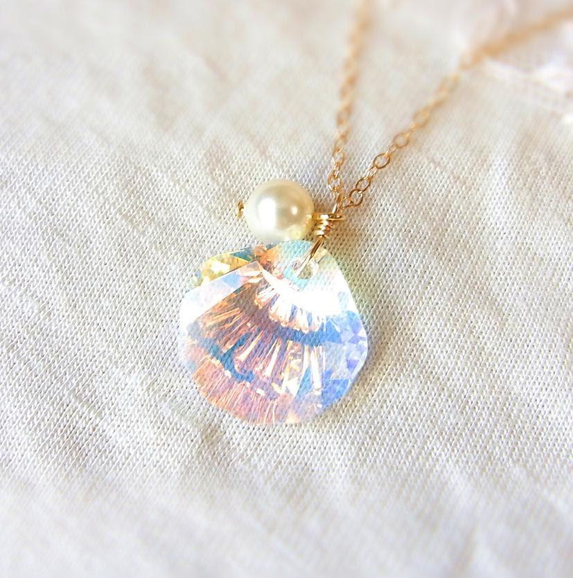 Jewel of Mermaid . Swarovski Crystal Seashell Necklace in Crystal AB . CocoroJewelry on Etsy