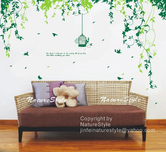 Flowers with Flying Birds and Birdscage-Vinyl Wall Decal,Sticker,Nature Design nursery room decal baby decor children room decor