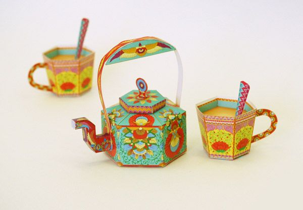 Sky goodies delicious paper products printables do it yourself masala chai kettle tea cups diy paper toys boxes by sky goodies via behance solutioingenieria Images