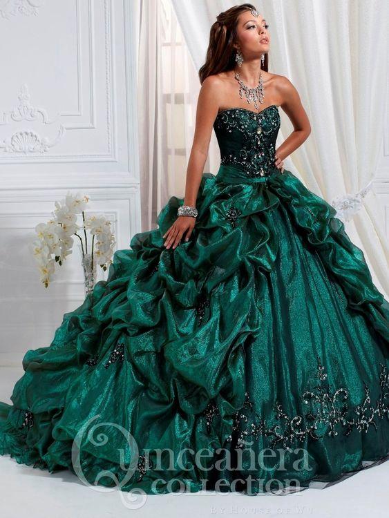 3840800765 emerald quinceanera dresses