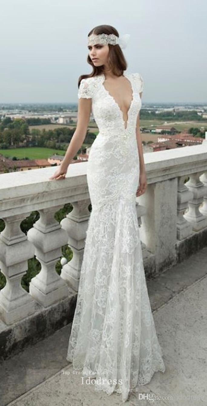 fe622543e71a3 Short Sleeves Lace Wedding Dresses Mermaid Sexy Deep V Neck Appique ...