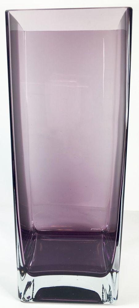 Tall Square Glass Vase Purple Amethyst Contemporary Home Decor