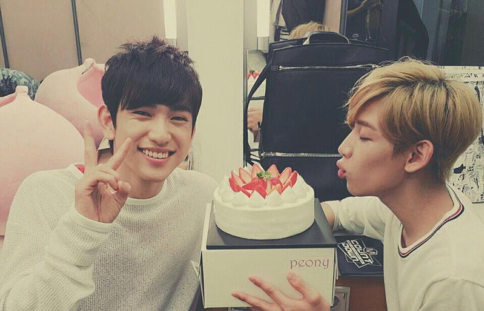Enjoying their strawberry cake got7 got7 jinyoung bambam