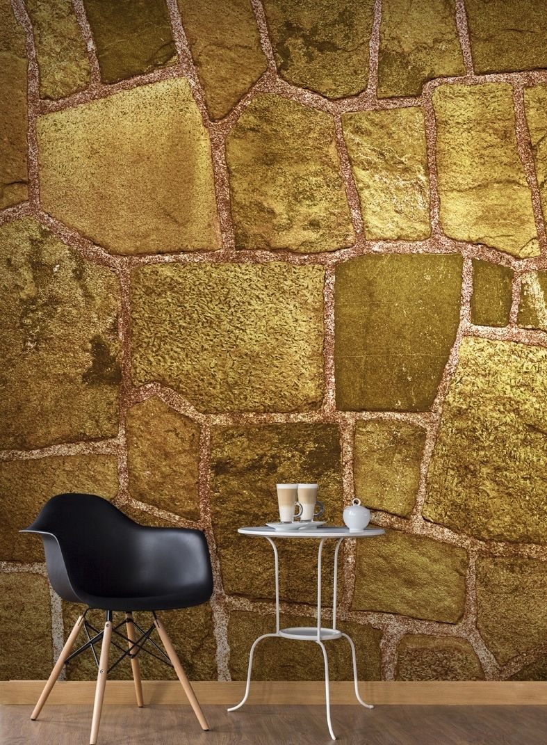 Wall Mural Golden Stone | Wall murals, Stone and Wall decorations